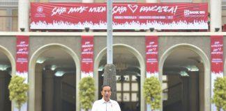 Presiden Jokowi, Sabtu (22/7) pagi, menghadiri Kongres Pancasila IX yang diselenggarakan di Halaman Balairung UGM, Sleman, DI Yogyakarta.