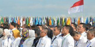 Para rektor dan pimpinan perguruan tinggi se Indonesia menyampaikan Deklarasi Kebangsaan Perguruan Tinggi se-Indonesia Melawan Radikalisme, di Peninsula Island, Nusa Dua, Kabupaten Badung, Provinsi Bali, Selasa (26/9) pagi.
