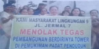 Warga Jermal 7 Medan Denai protes pembangunan Tower Telkom