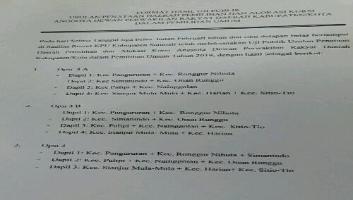 Foto : Hasil Uji publik Dapil dan Alokasi Kursi di Kabupaten Samosir yang akan di Kirim ke KPU Provinsi