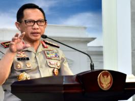 Kapolri Jenderal Tito Karnavian menyampaikan keterangan pers usai Rapat Terbatas, di Kantor Presiden, Jakarta, Selasa (22/5)