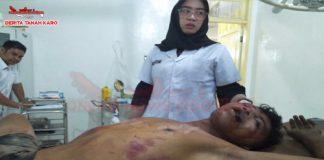 Pelaku pencurian (Hery Tarigan) saat di tangani tim medis tampak sekarat di Rumah Sakit Kabanjahe