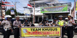 Tim Pengurai Jalan Kemacetan Polres Tanah Karo di pos Berastagi. (09/09) 2018, Jam 08-00 WIB