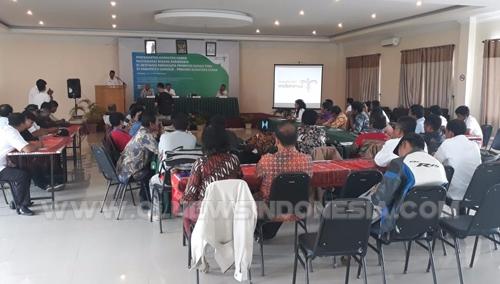 Peserta Pelatihan dan pemahaman tentang pengelolaan homestay oleh kementrian pariwisata RI, Rabu(10/10) di Aula Hotel JTS Parbaba Pangururan Samosir