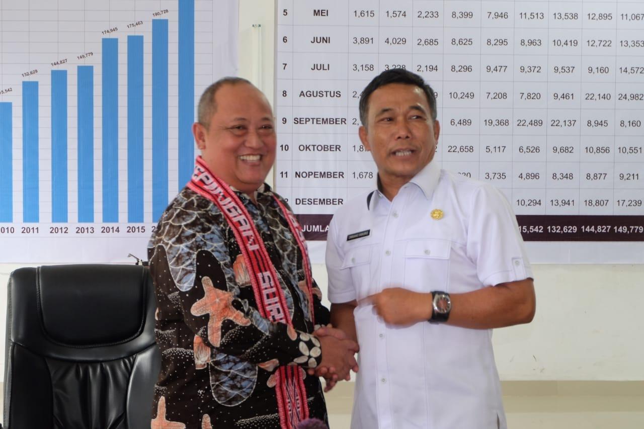 Foto : Kadis Pariwisata Samosir, Drs Ombang Siboro MM (baju putih) bersama salah satu rombongan Dinas Pariwisata Kabupaten Pasuruan Jawa timur, disela study banding ke Samosir