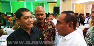 Gubernur Sumatera Utara Edy Rahmayadi Berbincang bincang di sela sela kegiatan penyerahan DIPA untuk Kab Karo, di Kantor Gubsu Medan,