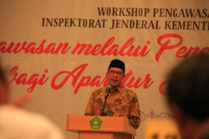Menag Lukman Hakim Saifuddin menutup Workshop Pengawasan Inspektorat Jenderal Kemenag Tahun 2017 di Jakarta