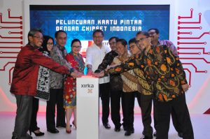 Menteri Kominfo dalam Peluncuran smart card dari PT Xirka Silicon Technologi di Gedung Anex , Jumat 12 Mei 2017.