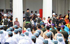 Presiden Jokowi mengikuti upacara Hari Lahir Pancasila di Gedung Pancasila, Kementerian Luar Negeri, Jakarta, Kamis (1/6) dengan khidmat.