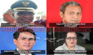 Inset : Bupati Maluku Tenggara Barat Petrus Fatlolon, Ketua DPRD MTB Simson Lobloby, Wakil Ketua DPRD MTB Ema Labobar, Ketua Komisi C DPRD MTB Sony Hendra Ratissa