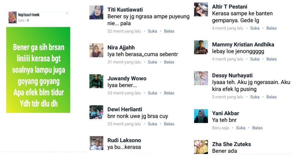Akun Facebook Nopitasari Inonk Dipenuhin Komentar Masyarakat Yang merasakan Gempa