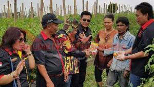 Ketua DPD PMS Karo bersama anggota meninjau lokasi pertanian warga