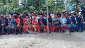 Foto : Para Keturunan Sitolu Hae Horbo (Marga Naibaho, Marga Sitanggang, dan Marga Simbolon) bersama Pihak BWS Sumatera Dua, ikuti Ritual untuk menghormati para leluhur, dalam pembangunan alur tano ponggol