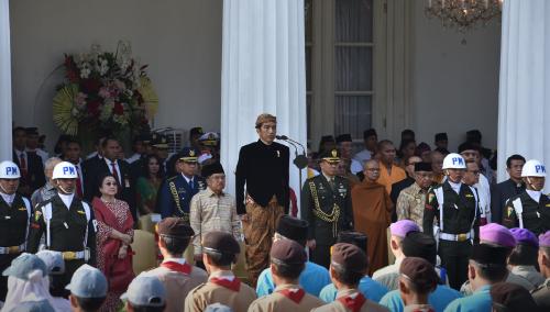Presiden Jokowi memimpin Upacara Peringatan Hari Lahir Pancasila, di halaman Gedung Pancasila, Jakarta, Jumat (1/6) pagi.
