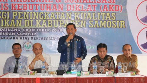 Seminar Nasional dan Sosialisasi Analisis Kebutuhan Diklat (AKD), yang diikuti guru dan kepala sekolah SMP se-Kabupaten Samosir