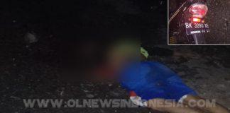 Korban & Septor korban saat di lokasi kejadian, usai tabrak truck dari belakang sehingga mengakibatkan kan Alemta Ginting (korban) tewas di tempat