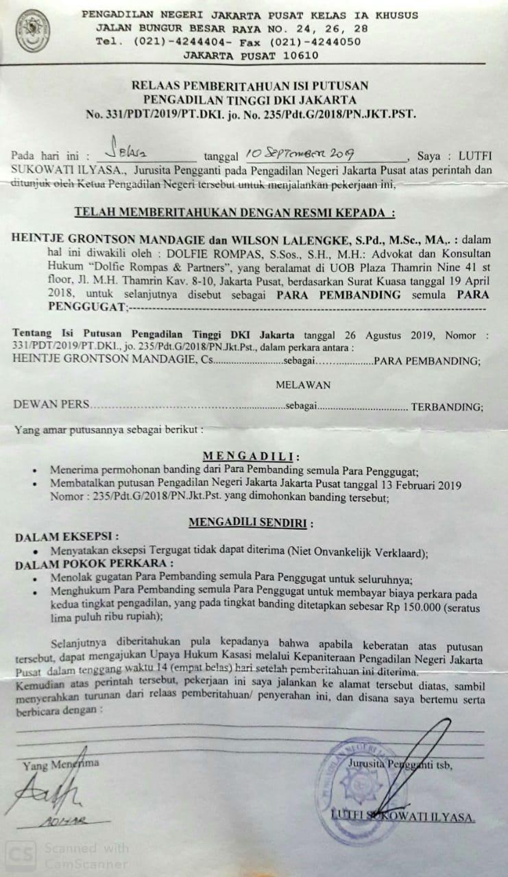 Foto : Relaas pemberitahuan isi putusan pengadilan Tinggi DKI Jakarta