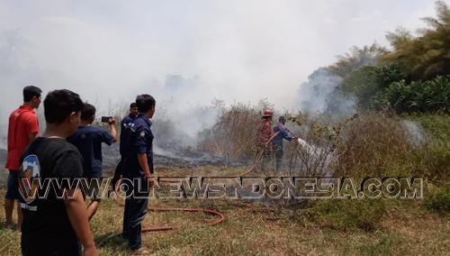 Petugas Damkar dibantu Warga, berusaha mematikan api