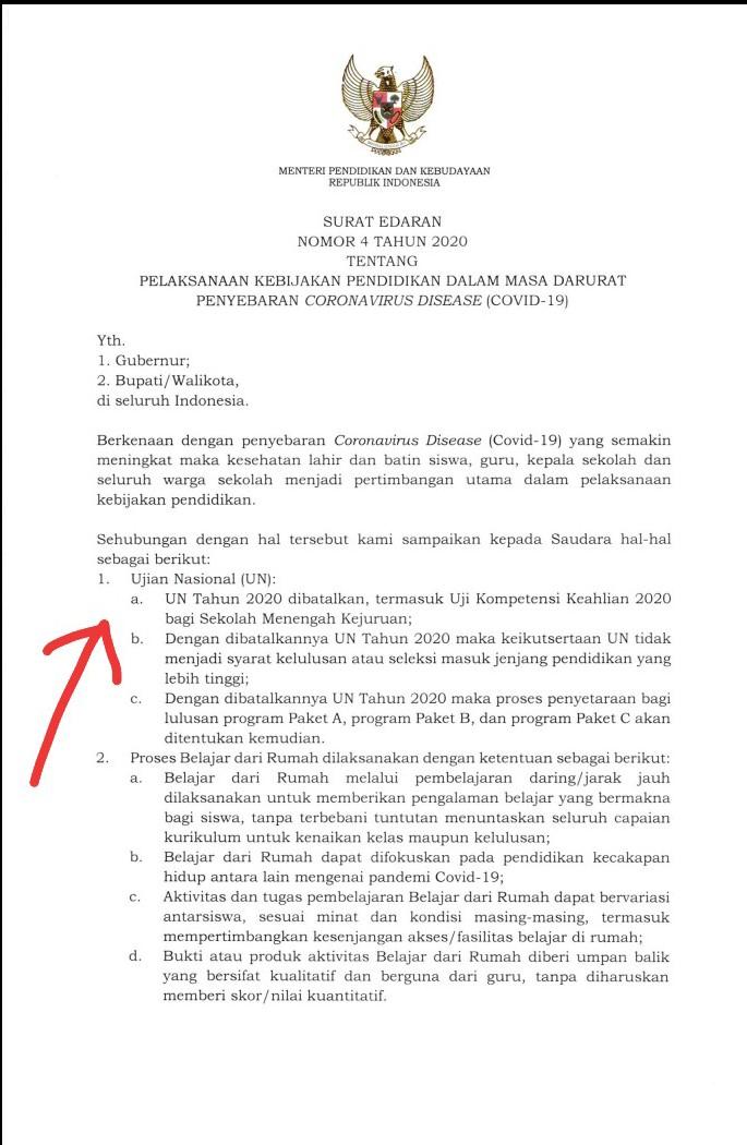 Ket foto :  Surat Edaran dari Menteri Pendidikan dan Kebudayaan RI