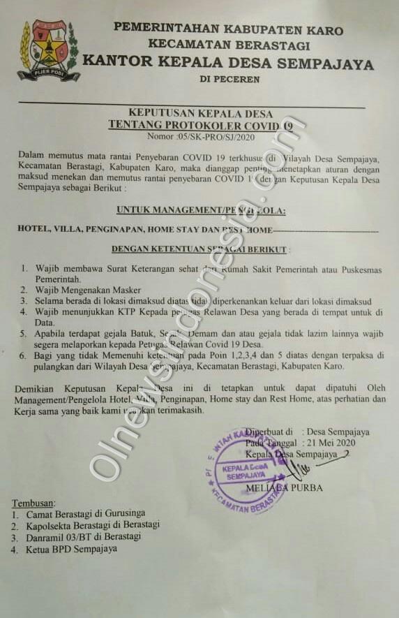 Ket foto : Surat Keputusan Kepala Desa Sempajaya Berastagi Kabupaten Karo tentang Protokoler Covid-19, Jumat (22/05) 2020 (Ist)