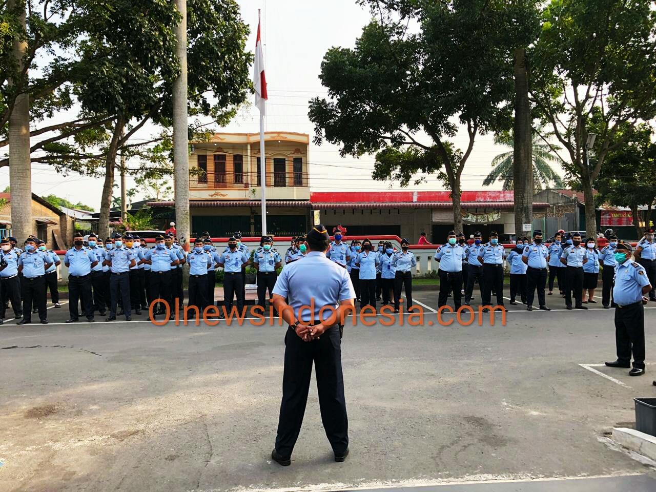 Ket foto  : Rutan Tanjung Gusta Kota Medan saat lakukan Apel Dinas (ist)
