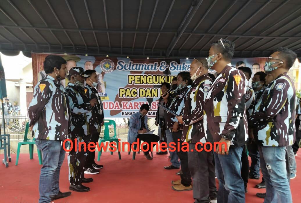 Ket foto : Ketua IPK Kab Karo Gembira Ginting saat mengukuhkan kepengurusan PAC dan Ranting Se-Kecamatan Kabanjahe, Sabtu (17/10)2020 (Ist)