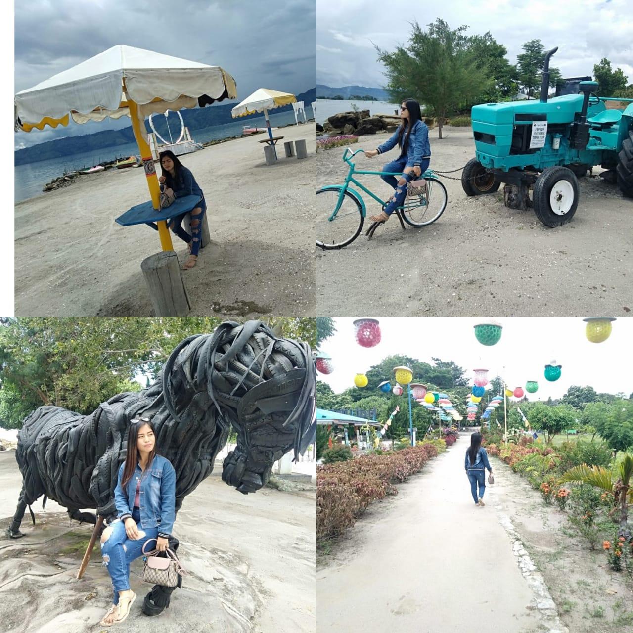 Foto : Pengunjung suka suka berselfie ria di Objek Wisata Unggulan Pantai Pasir Putih  'BATUHODA BEACH' Pulau Samosir